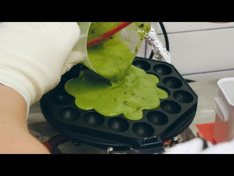 녹차 아이스크림 와플 / Green tea bubble waffle with ice cream – korean street food