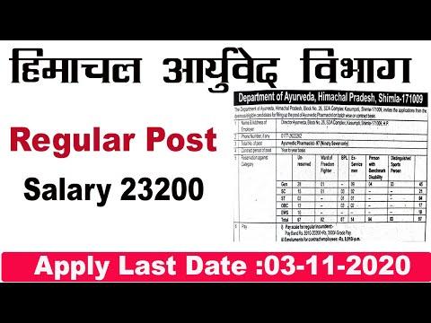 ayurveda vibhag vacancy | hp govt ayurveda vibhag vacancy 2020 | hp jovt nokri