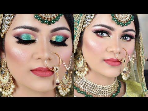 मुस्लिम ब्राइडल मेकअप Indian MUSLIM Bridal Makeup Tutorial Golden Green Glitter Eye Makeup