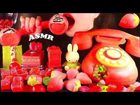 ASMR EDIBLE Phone Candy Dessert Box Strawberry Kohakuto Cake EATING SOUNDS 전화기 캔디박스 코하쿠토 케익 먹방 ケーキ